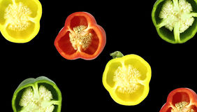 Parts of colorful sweet bell pepper Royalty Free Stock Images