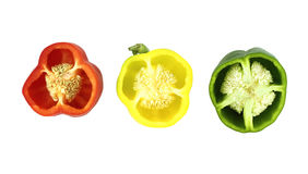 Parts of colorful sweet bell pepper Stock Photos