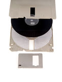 Parts of computer floppy disk. Parts of a disassembled computer floppy disk.  White background Stock Photo