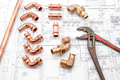 Parts of copper Stock Photo