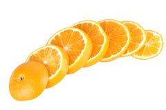 parts découpées en tranches oranges image stock