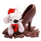 Parts de chocolat, souris dans la chaussure photo stock