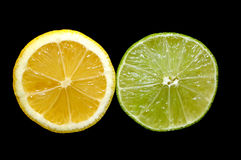 Parts de citron et de limette Photographie stock