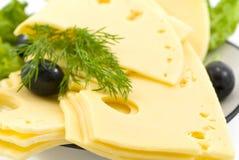 Parts de fromage de la plaque Photo libre de droits