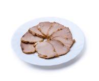 Parts de jambon de plaque images stock