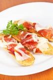 Parts de jambon espagnol Images stock