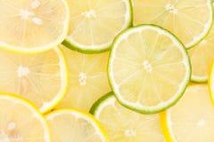 Parts de limette et de citron Photo stock