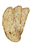 Parts de pain sur le fond blanc Images libres de droits