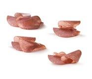 Parts de salami Photographie stock