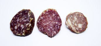 Parts de saucisse Images stock