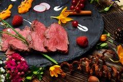 Parts de viande frite par canard Photos libres de droits