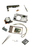 Parts of a disassembled camera. Royalty Free Stock Images