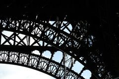 Parts of the Eiffel Tower Paris. Bottom arch of the Eiffel Tower, Paris France Stock Image