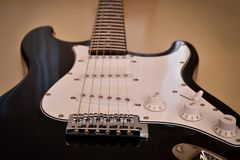 Parts of electric guitar body and neck Stock Images