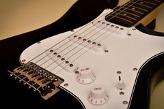 Parts of electric guitar body and neck Stock Image