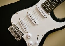 Parts of electric guitar body and neck Stock Photo