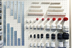 Parts for electrical installation in store Royalty Free Stock Photos