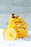 Parts et cannelle oranges sèches photographie stock