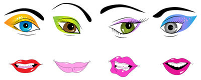 Parts of face. Vector picture of parts of face: eyes and lips stock illustration