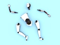 Parts of a female robot on the floor. Stock Photo