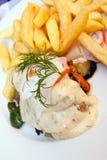 Parts grillées de blanc de poulet avec le bearna de sauce photo libre de droits