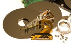 Parts of hard disk drive Royalty Free Stock Photos