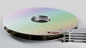 Parts of hard disk drive with information Stock Image