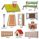 Parts of house. Vector Illustration of Cartoon Parts of house vocabulary Stock Photo