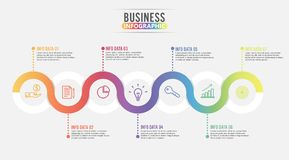 7 Parts infographic design  and marketing icons can be used for workflow layout, diagram, report, web design. Business conce. Pt with options, steps or processes Royalty Free Stock Photos