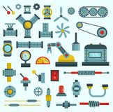 Machine parts vector illustration machinery flat icons set manufacturing work detail design gear mechanical equipment stock illustration