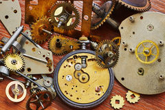 Parts of mechanical watches. Parts of old mechanical watches Royalty Free Stock Images