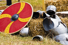Parts of medieval armor and round loop Royalty Free Stock Photography