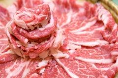 Parts minces de viande Images stock