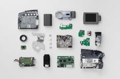 Parts of a mini DV video camera royalty free stock images