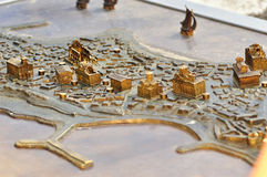 Parts of a miniature metal map of the city Nessebar, Bulgaria Royalty Free Stock Image