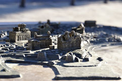 Parts of a miniature metal map of the city Nessebar, Bulgaria Stock Images