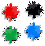 Parts of multicolored puzzles Royalty Free Stock Photo