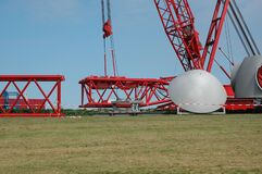 Free Parts Of A Gigantic Construction Crane Are Assembled Here By The Crane, For Building A Wind Turbine Royalty Free Stock Photography - 190798267