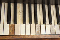 Old piano keyboard. Parts of an old piano keyboard Royalty Free Stock Photography