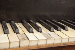 Old piano keyboard. Parts of an old piano keyboard Stock Photo