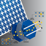 Parts and operation of a solar cell on a solar panel on gray background - Renewable Energy Stock Image