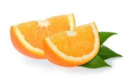 Parts oranges d'isolement sur le blanc Photographie stock libre de droits