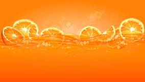 Parts oranges en jus Photographie stock