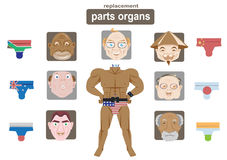 Parts organs replacement. Funny pictures The old man faces seven people and a perfect body. Headers can be attributed to the body's organs Stock Images