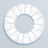 Parts of paper puzzles in the form of a circle of 16 pieces. Illustration Stock Images
