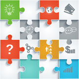 Parts of paper puzzles with icons. Business concep Royalty Free Stock Photo