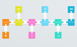Parts of paper puzzles with icons. Business concept, template interface, layout Stock Photography