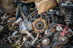 Parts pile of old cars royalty free stock photo