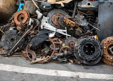 Parts pile of old cars royalty free stock image