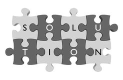 Parts of a puzzle connected together with letters spelling out the word solution Stock Photography